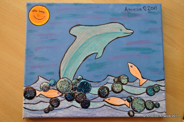 Amelies Dolphin Collage Canvas